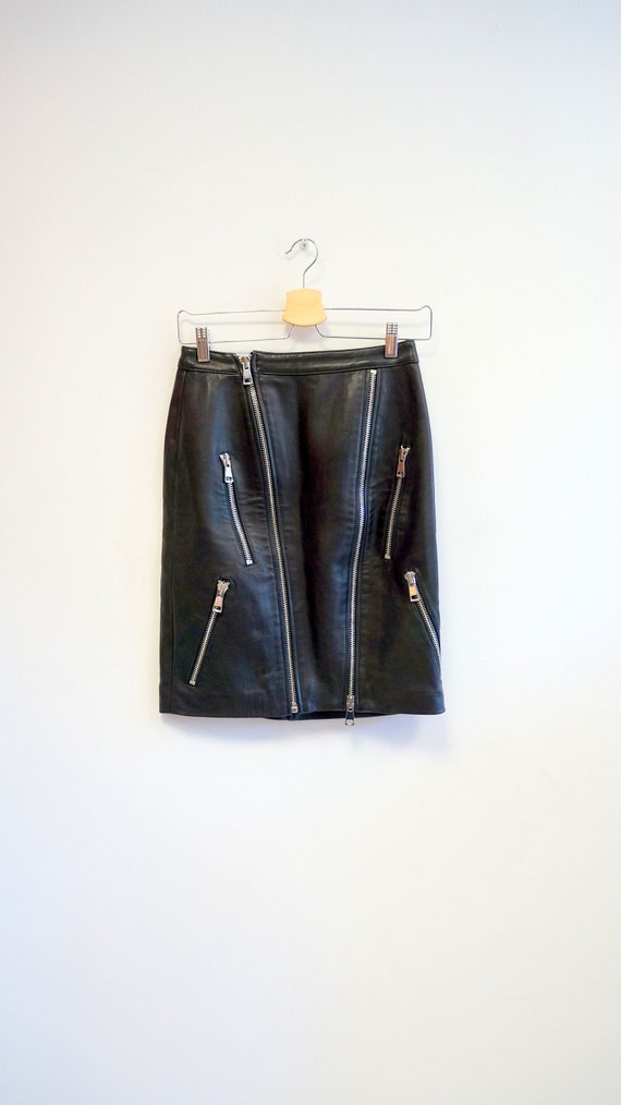YSL skirt, Yves Saint Laurent zipper skirt, leathe