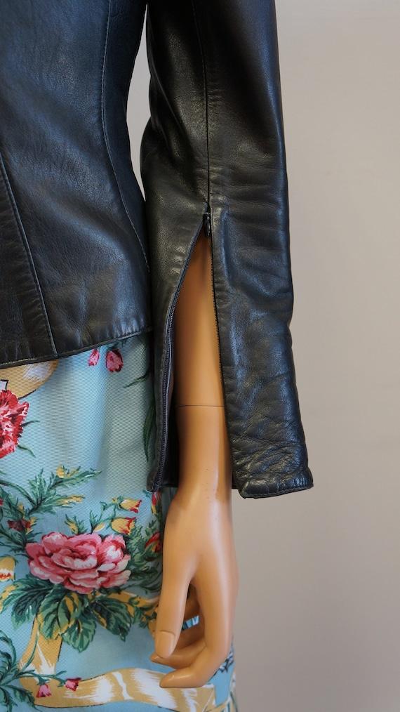 Thierry Mugler leather lamb jacket blazer ,Black … - image 7