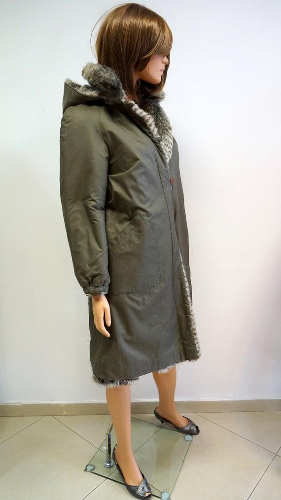 reversible coat, faux fur coat, military green ra… - image 6