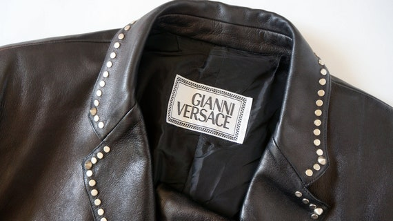 Gianni Versace jacket leather vintage versace studs leather blazer jacket coat versace medusa versace couture