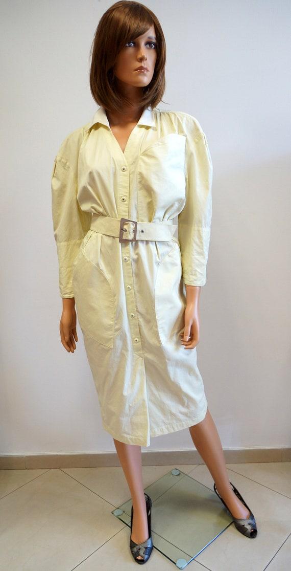 Thierry Mugler dress,vintage yellowt cotton dress,