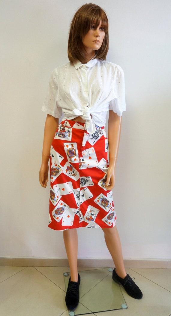 Moschino skirt, moschino jeans poker cards print,