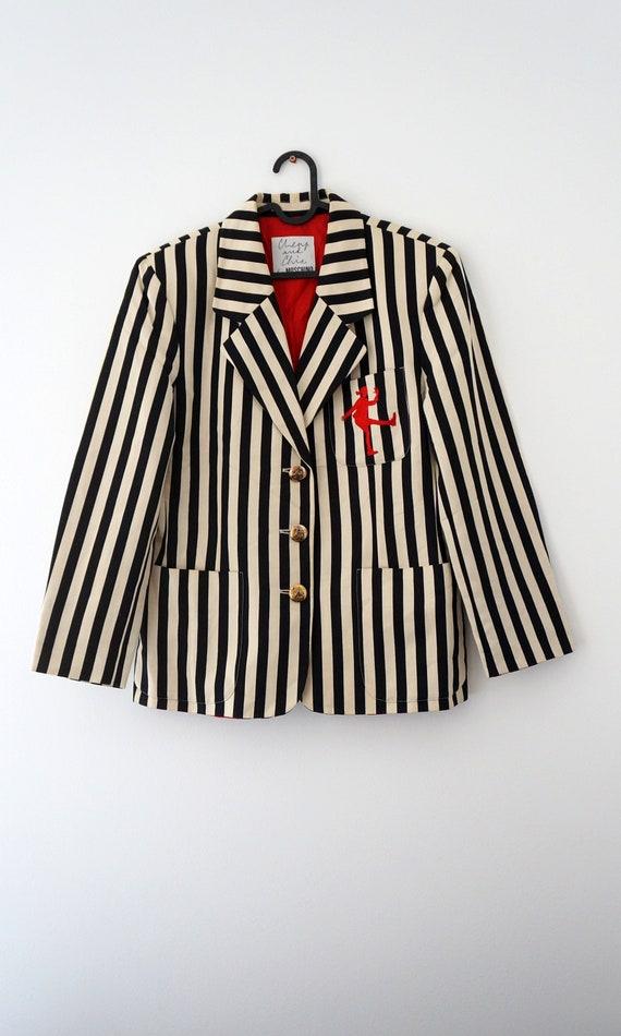 Moschino jacket, cheap chic striped blazer, Mosch… - image 3