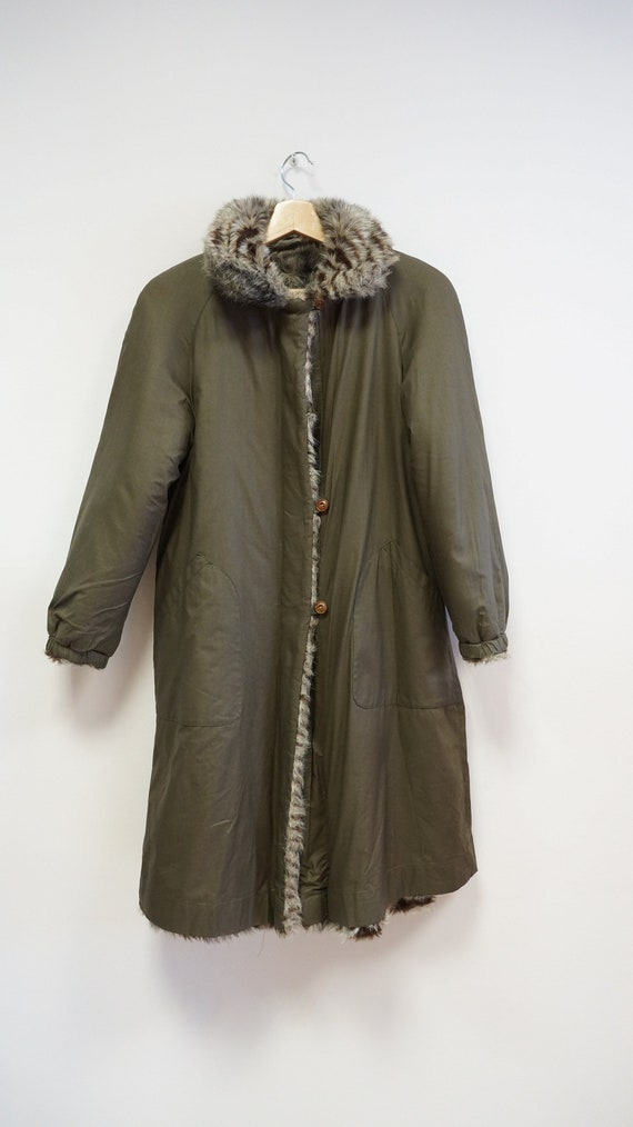 reversible coat, faux fur coat, military green ra… - image 2