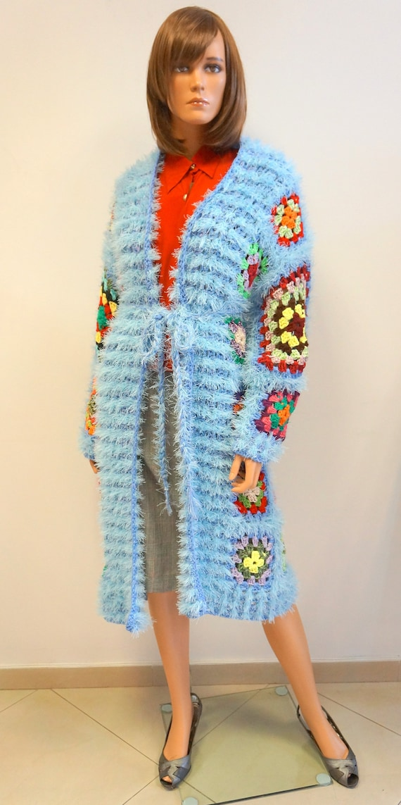 patchwork coat,blue multicolor patchwork long card