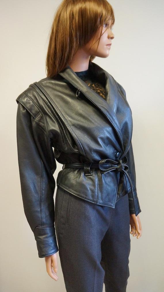leather jacket,black wide shoulders retro jacket,