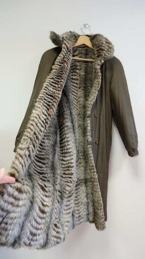 reversible coat, faux fur coat, military green ra… - image 3