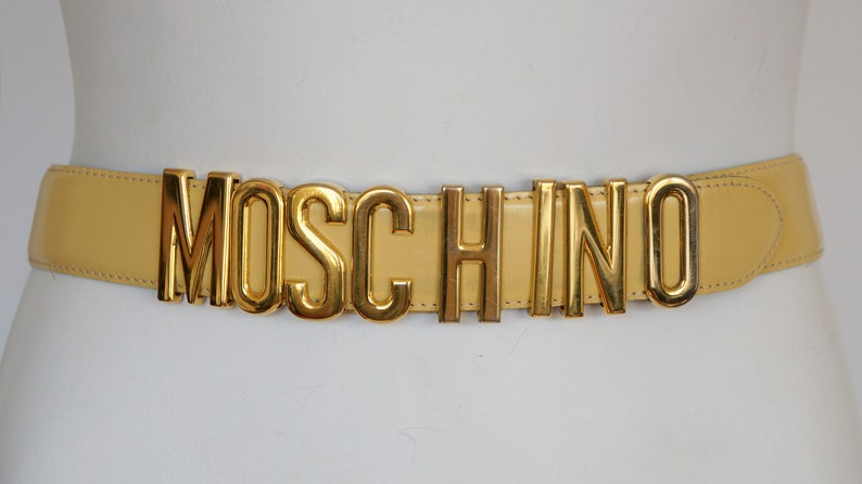 vintage Moschino belt letters Redwall gift for her leather belt cream leather gold letters dress jacket cheap chic couture moschino jeans