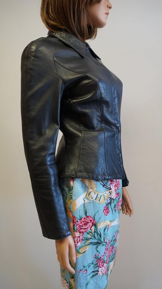 Thierry Mugler leather lamb jacket blazer ,Black … - image 9