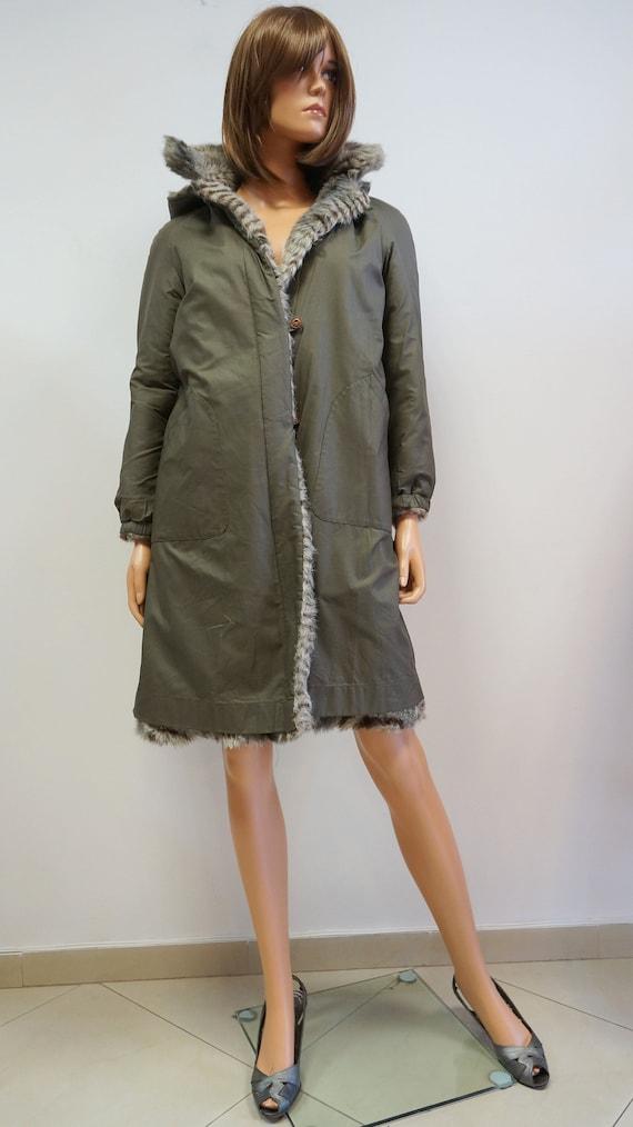 reversible coat, faux fur coat, military green ra… - image 4