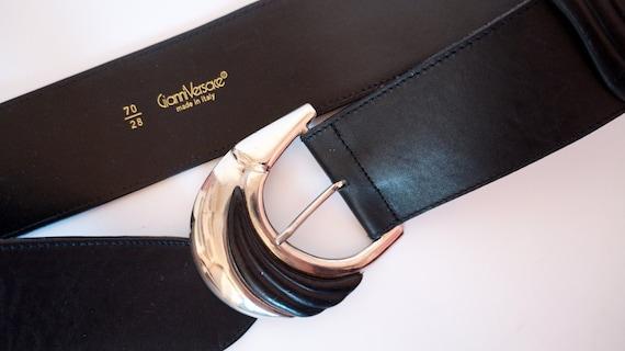 vintage Versace belt  leather belt silver metal b… - image 2