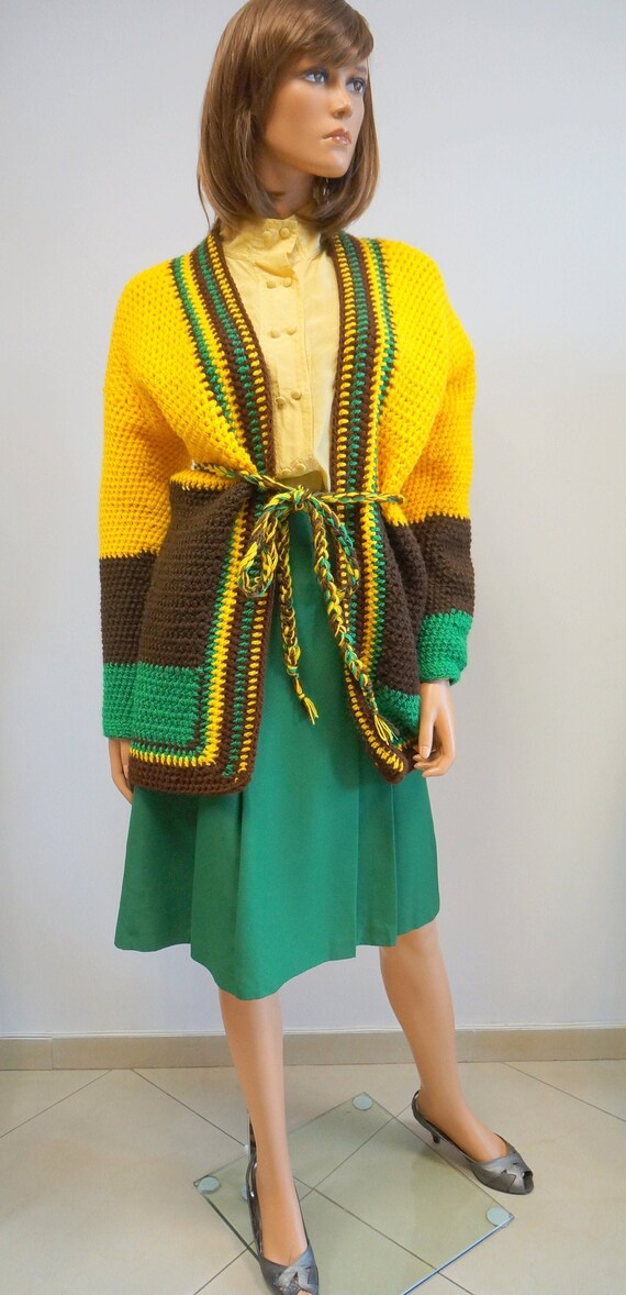 handmade knitted cardigan, yellow green belt cardi
