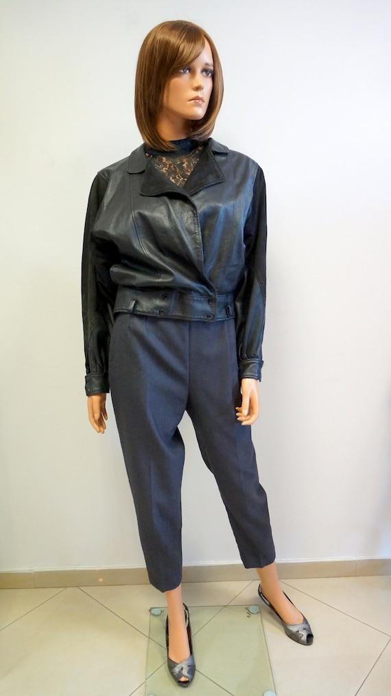 leather jacket,black retro jacket, leather retro v