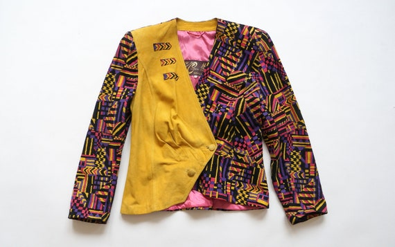 Vintage multicolor leather yellow blazer leather