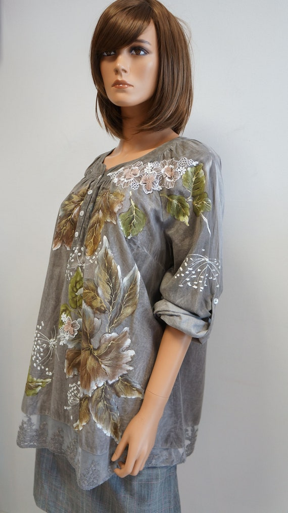 hand painted blouse, leaves autumn blouse, elegan… - image 9