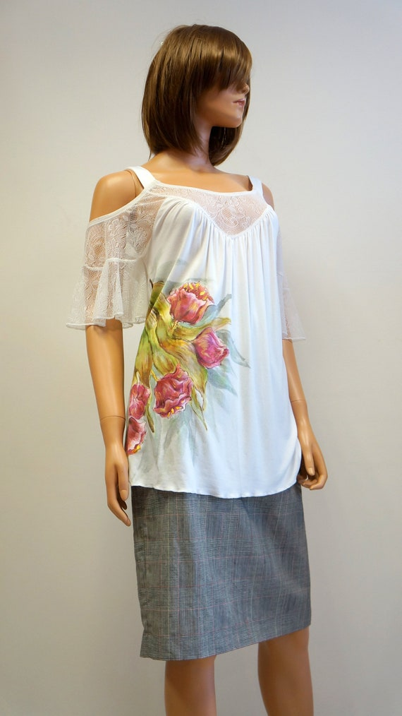 hand painted blouse, white lace top blouse, elegan