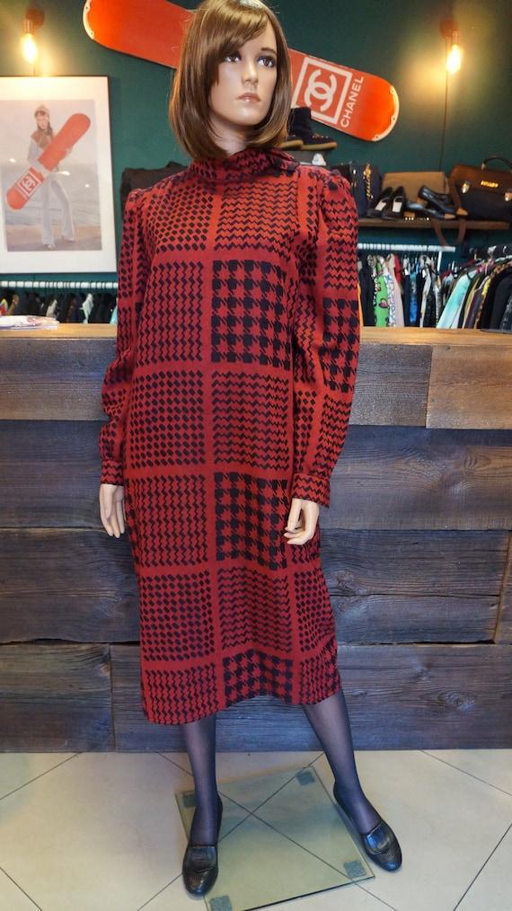 Renato Balestra cashmere silk houndstooth dress, v