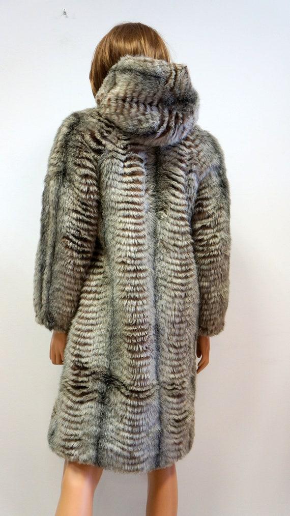 reversible coat, faux fur coat, military green ra… - image 10