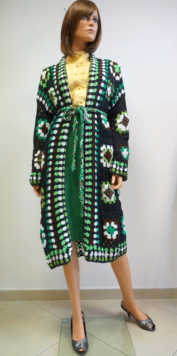 handmade knitted coat, patchwork coat in green, ha