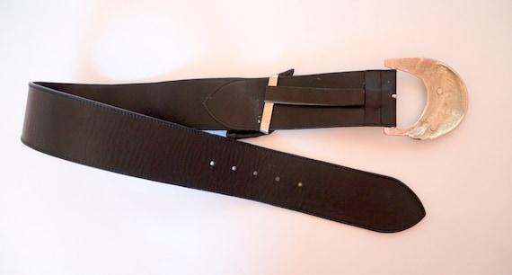 vintage Versace belt  leather belt silver metal b… - image 3