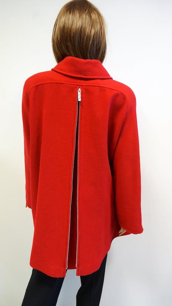 Mugler red wool coat, vintage woolen long jacket,