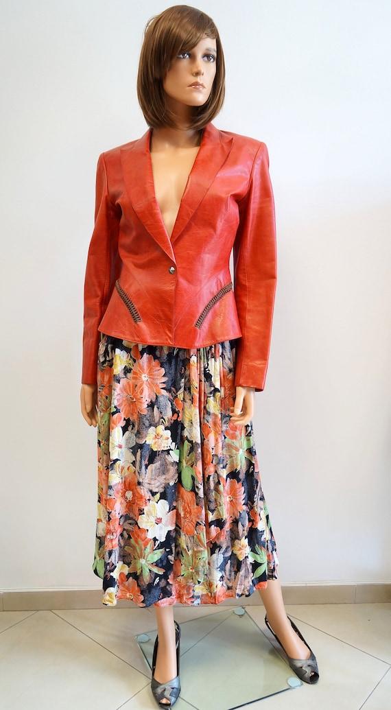 Thierry Mugler jacket,Mugler red leather blazer,Mu
