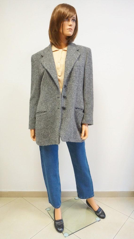 Genny wool cashmere jacket, grey vintage Genny bla