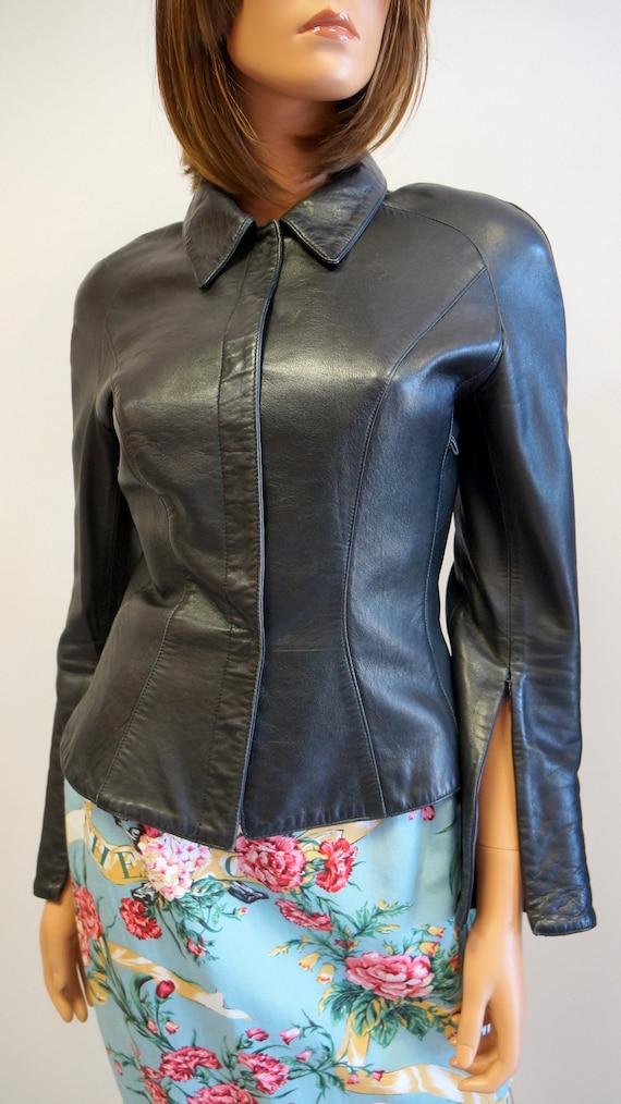 Thierry Mugler leather lamb jacket blazer ,Black … - image 2