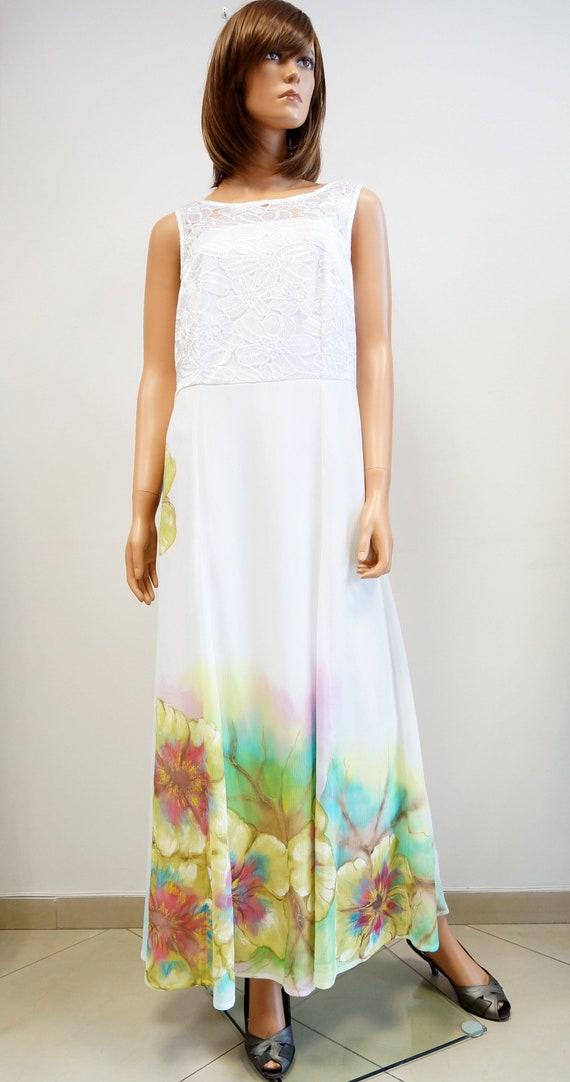 hand painted dress, white wedding dress, lace maxi