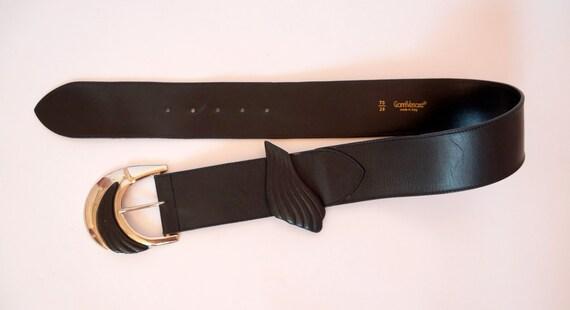 vintage Versace belt  leather belt silver metal b… - image 5