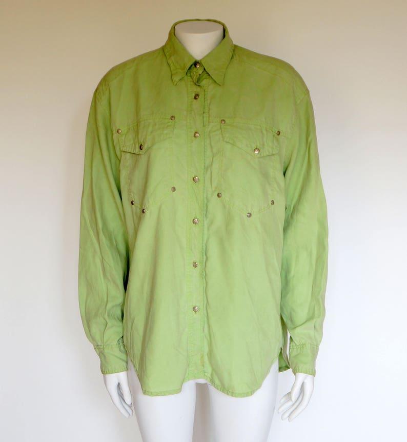 4ab9428b Vintage Versace shirt Jeans Couture lemon green men shirt | Etsy