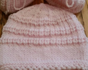 Knitted baby hat and booties,size 0-3 months, light pink color, for girl