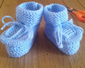 Knitted baby booties, size 3-6 months, light blue,  for  boy