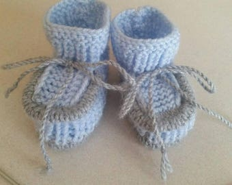 Knitted baby booties, size 3-6 months, light blue and grey color, for boys