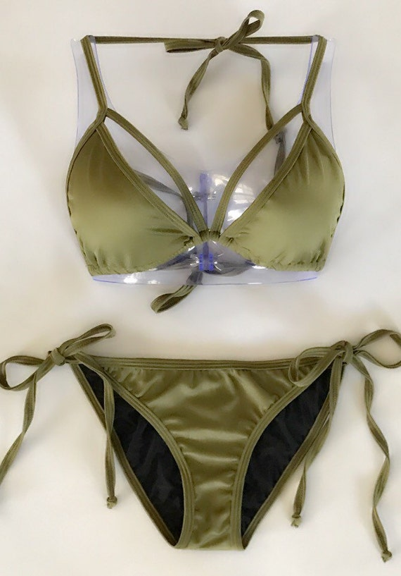 a30b511330 Olive Green Strappy Tie-Side Bikini    Padding Included
