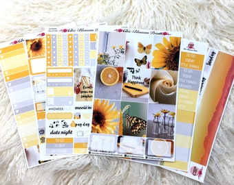 Sunshine Collection, Weekly, Kit, Erin Condren, SewMuchCrafting, Plum Planner, Planner Stickers, Plan with Me, ChicBlossomPrints