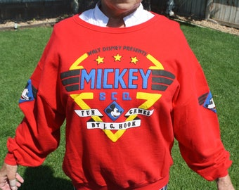 Vintage Mickey Light Sweat Shirt, Women's Large