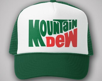 569ab4d11ce Mountain Dew Soda Vintage Style Trucker Hat Classic Cap Snapback TShirt  Truckers Retro Drink Pop Coke Cola Green Red Gift Party 80s 90s