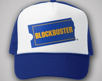 8119c4efbb0 Blockbuster Video Vintage Style Trucker Hat Classic Cap Humor Snapback  TShirt Truckers Movie Rental Retro Defunct Company 90s Costume VHS