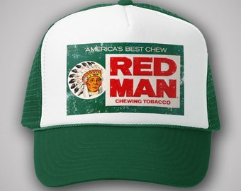 f3464e9eb94 Red Man Chewing Tobacco Vintage Style Trucker Hat Classic Cap Snapback  TShirt Truckers Retro Green Red Gift Party 80s 90s Indian Chew Pouch