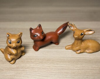 Tiny Woodland Creatures - Squirrel, Fox and Deer - Hand Painted - Curio Cabinet - Curio Ideas - Miniatures - Miniature Animals - Curio Ideas