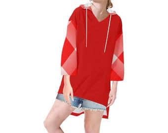 Red Plaid Women's Hooded Tunic