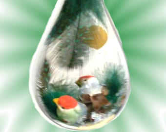 Birds Teardrop Acrylic Hanging Ornament