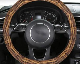 Steering Wheel Cover Wicker Weave Print