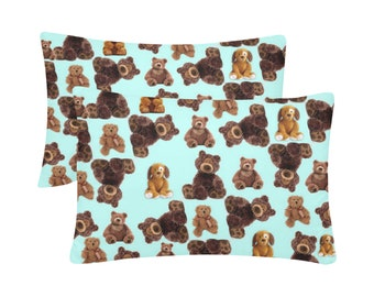 Set Of Two Teddy Pillow Cases