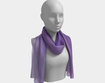 Women's Long Purple Ribbon Scarf