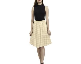 Women's Pleated Yellow Checkered Skirt