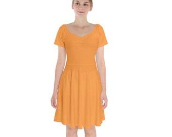 Women's Short Sleeve Bardot Dress Saffron