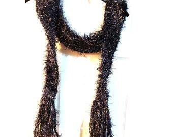 Crocheted Black Silver Curl Scarf