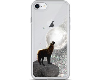 Liquid Glitter Phone Case Moon Wolf